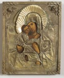 Russian Provincial Icon of the Virgin of Tenderness with Silvered Riza