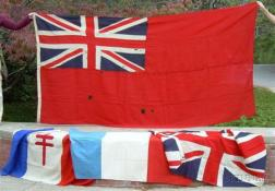 Four Mostly Wool British and Other Foreign Flags
