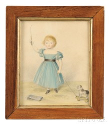 Framed Watercolor Portrait of a Red-headed Girl with a Pull Toy