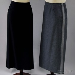 Two Emporio Armani Wool and Blended Wool Skirts