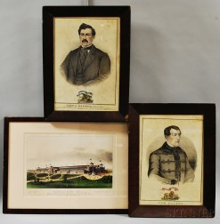 Two Framed Kellogg Engravings and a Currier & Ives Engraving