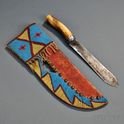 Large Blackfeet Beaded Buffalo Hide Knife Sheath