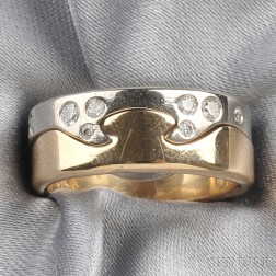 "18kt Bicolor Gold and Diamond ""Puzzle"" Ring, Georg Jensen"