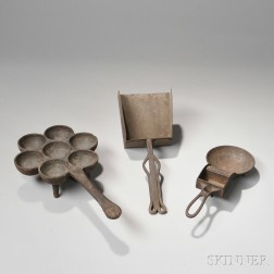 Three Iron Hearth Cooking Implements
