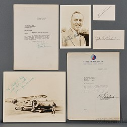 Rickenbacker, Edward Vernon (1890-1973) and Roscoe Turner (1895-1970) Signed Photographs, Cards, and Letters.