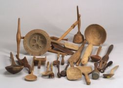 Twenty-seven Carved Wooden Utensils