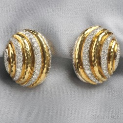 18kt Gold, Platinum, and Diamond Earclips, A. Clunn