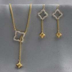 "18kt Gold and Diamond ""Quatrefoil"" Necklace and Earpendants, David Yurman"