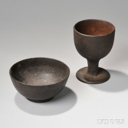 Cast Iron Footed Bowl and Goblet