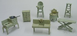 Seven Kilgore Cast-iron Dollhouse Kitchen Items
