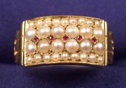 Antique 18kt Gold, Ruby and Seed Pearl Ring, John Brogden