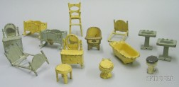 Fourteen Kilgore Cast-iron Dollhouse Bedroom and Bathroom Items