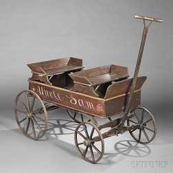 Paint-decorated Wooden Wagon