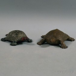 Two Cast Iron Turtle Doorstops