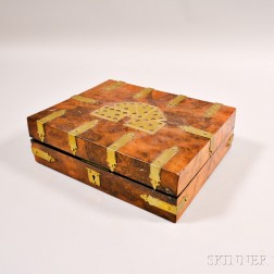Brass-mounted Burl Veneer Game Box