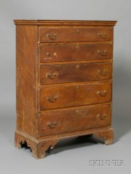 Chippendale Grain-painted Pine and Birch Tall Chest of Drawers