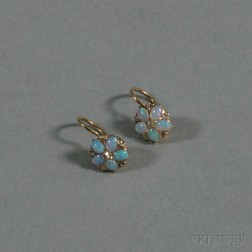 Small Pair of 14kt Gold, Opal, and Diamond Flowerhead Earrings