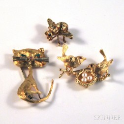 Three Gold Animal and Insect Pins
