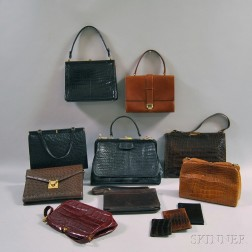 Seven Red, Black, and Brown Alligator and Ostrich Handbags and Clutches