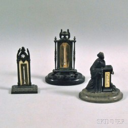 Three Cast Metal Desk Thermometers