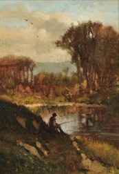 Frederick Dickinson Williams (American, 1829-1915)      Autumn Landscape with Fisherman