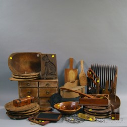 Large Group of Wood and Metal Domestic Items