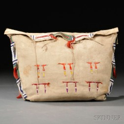 Central Plains Beaded and Quilled Buffalo Hide Possible Bag