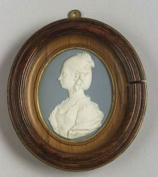 Wedgwood & Bentley Solid Blue Portrait Medallion of the Young Queen Charlotte