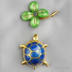 Two 18kt Gold and Enamel Figural Brooches