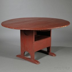 Red-painted Shoe-foot Hutch Table
