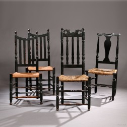 Four Black-painted Side Chairs