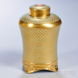 Jeweled Coalport Porcelain Tea Canister with Covers