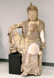Monumental Carved Wood Figure of Guanyin