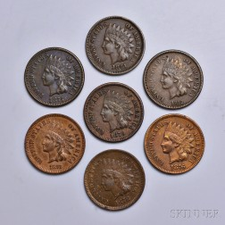 Seven 1870s Indian Head Cents