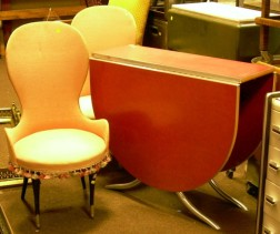 Vintage Formica and Chromed Metal Deep Drop-leaf Kitchen Table and a Pair of French Pink Upholstered Boudoir Ch...