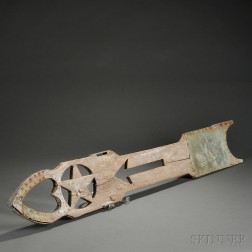 Carved Wood and Sheet Copper Arrow Weather Vane