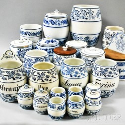 Twenty-four German Blue and White Ceramic Apothecary Jars