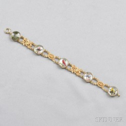 14kt Gold and Reverse-painted Crystal Bracelet