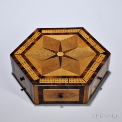 Inlaid Hexagonal Game Board Box, England, 19th century, the top centering a six-pointed star and mahogany crossbanded borders, on simil