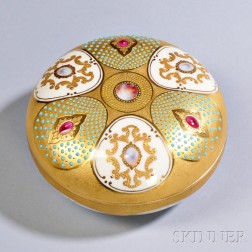 Jeweled Coalport Porcelain Box and Cover