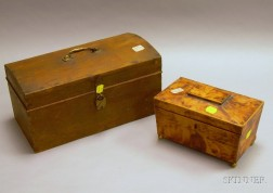 Small Painted Dome-top Dovetail-constructed Document Box with Till and a Faux Tortoiseshell Pyrography Decorate...