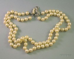 Double-Strand of Cultured Pearls with 14kt White Gold, Pearl, and Diamond Clasp