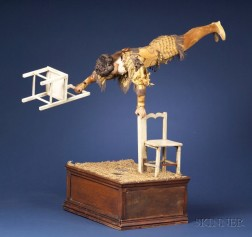 Rare Coin-Operated Vichy Automaton Gymnast with Two Chairs