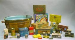 Approximately Twenty-four Lithograph Labeled Retail, Medicinal, and Tobacco Tins,   Three Cigar Boxes, and a Grain-painted Metal Tub