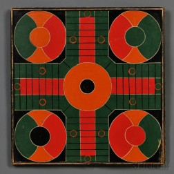 Polychrome-painted  Parcheesi Game Board