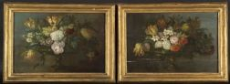Italian School, 17th/18th Century Style    Lot of Two Floral Still Lifes