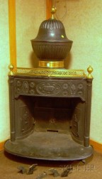 Wilson's Patent Brass-mounted Black-painted Cast Iron Franklin Stove