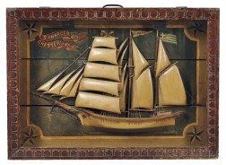 Carved and Painted Shadow Box Diorama of a Sailing Vessel