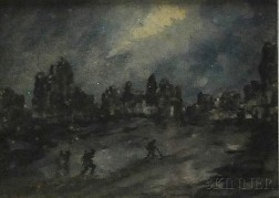 """Gunner"" F.J. Mears (English, 1890-1929)      British Soldiers Marching Towards Ruins at Night."