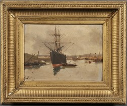 Eugene Galien-Laloue (French, 1854-1941)      Cargo Vessel in a Harbor